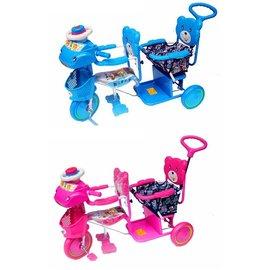 【淘氣寶寶】324 全配雙人手控三輪車(藍/粉)【台灣生產製造●品質有保證】