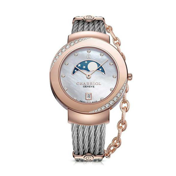 CHARRIOL夏利豪(ST35PD1.560.010)真鑽玫瑰金月象盈虧優雅鋼索腕錶/珍珠母貝面35mm
