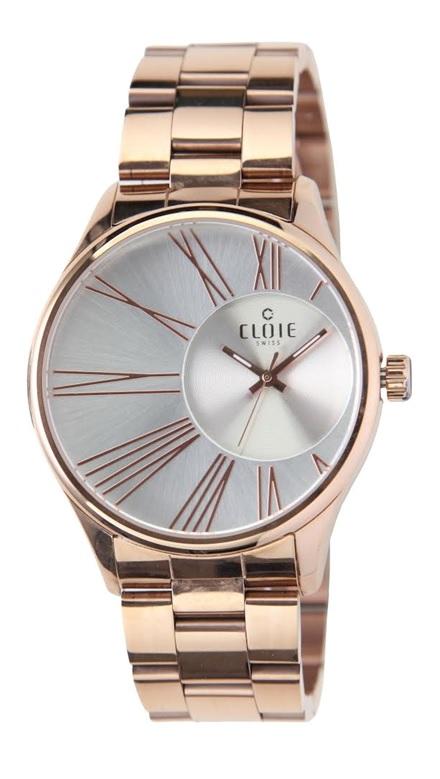 CLOIE 魅力風暴偏心不鏽鋼時尚腕錶-銀白x玫瑰金/35mm CL10286-XC22
