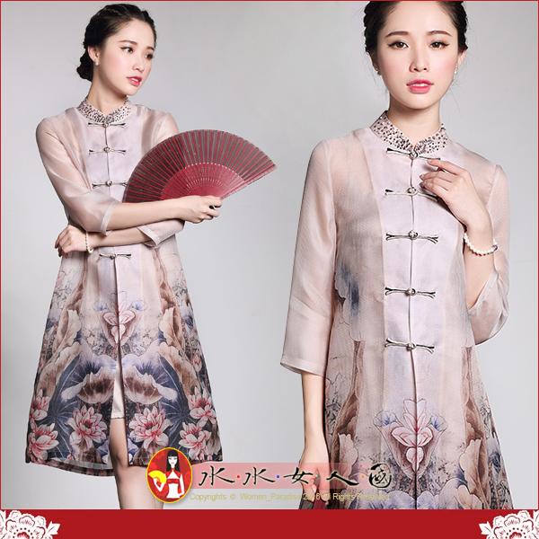 【水水女人國】~優雅中國風~幸福夏影~醉金荷。復古水墨印花真絲改良式時尚修身七分袖兩件式旗袍上衣.外套