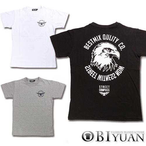 短T【ZT5477】OBI YUAN韓版美式復古後背老鷹頭字母印花短袖T恤共3色