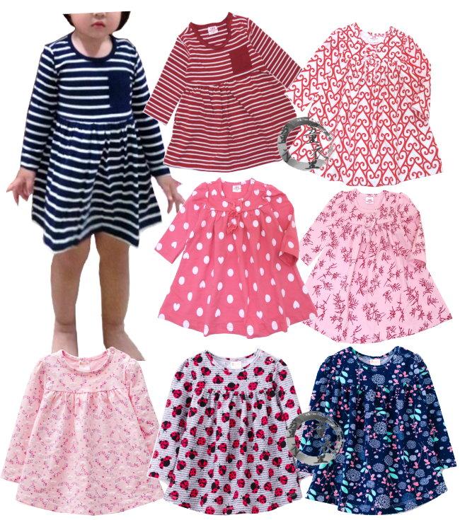 童衣圓【AG091】AG91寶寶洋裝 LBB 肩釦 傘狀 A字裙 長版上衣 連身裙 娃娃裝~6-24M/86-100