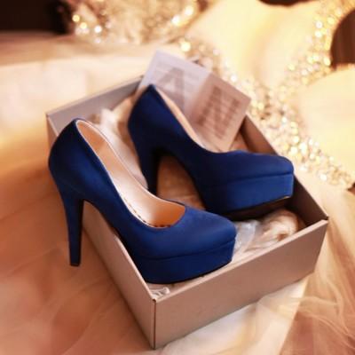 磨砂氣質素面防水台婚宴超高跟鞋大尺碼小尺碼-黑/紅/藍34-43【no-521065530176】