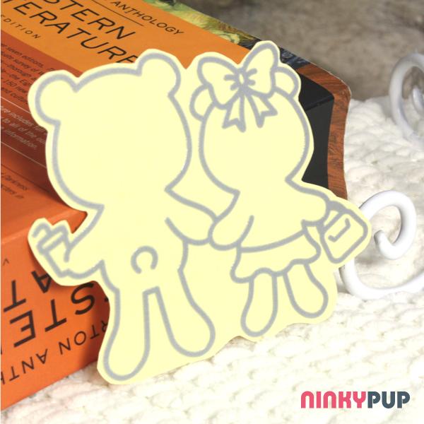 [全家福貼紙] 反光貼紙  幸福熊 銀色 雙人 9*10.8cm