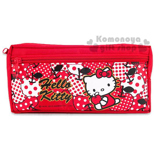 〔小禮堂〕Hello Kitty 雙拉鍊筆袋《紅.點點蘋果滿版》添增學習樂趣