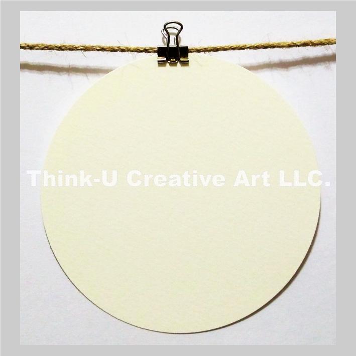 禪繞畫 白色藝術圓磚