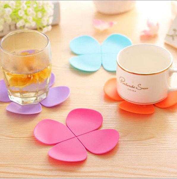 =優生活=韓國可愛立體花瓣型防燙 矽膠杯墊 咖啡墊 四葉草防滑荼具墊 防滑墊 隔熱墊