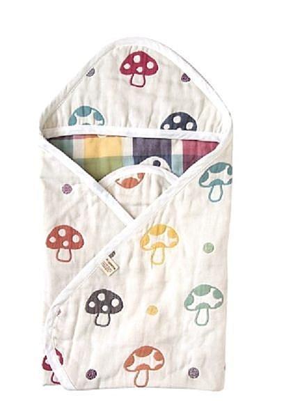 現貨 日本製 日本原廠公司貨 Hoppetta 六重紗蘑菇被 包巾 兩用款 六層紗蘑菇嬰兒包巾 85x85cm