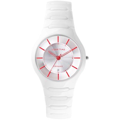 Relax Time  RT-26-C3 經典系列白X紅陶瓷腕錶/白面36.6mm