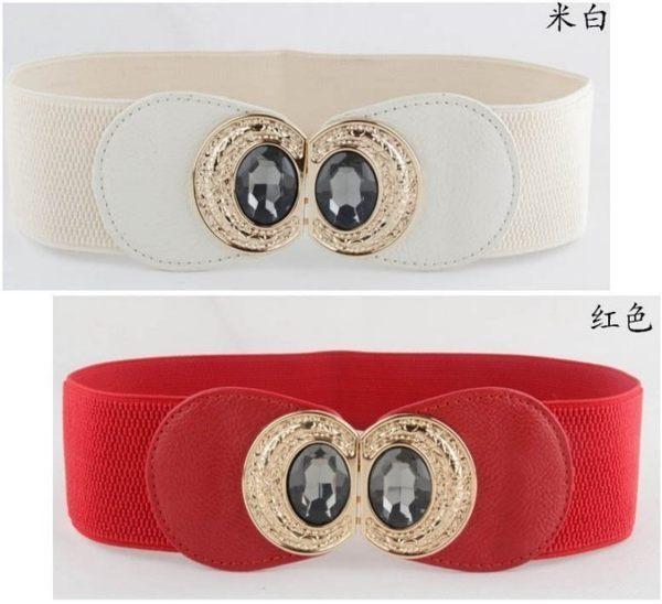 ★草魚妹★H232腰封甜美黑色寶石鑲嵌對扣腰封腰帶皮帶,售價155元