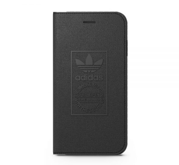 【adidas Originals】iPhone 7/i7(4.7吋)全黑 經典設計-翻蓋式手機保護殼 可收納卡片/手機套/保護套/手機殼