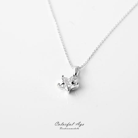 925純銀項鍊 經典海洋之星造型頸鍊短鍊 閃耀鋯石 抗過敏設計 柒彩年代【NPB25】