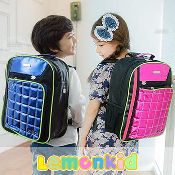 Lemonkid◆奢華酷炫亮面菱格設計背帶螢光條兒童書包雙肩包後背包