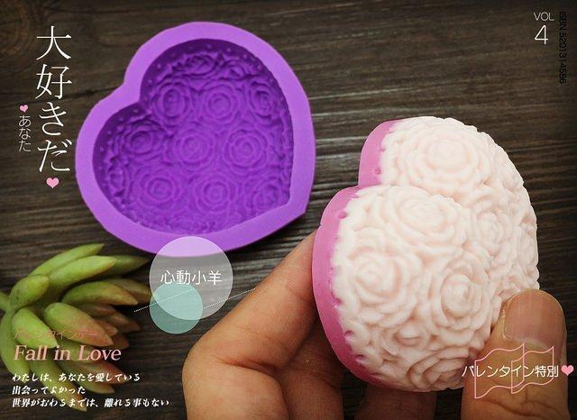 心動小羊^可愛玫瑰花辦愛心、長型皂模 可愛矽膠模具 矽膠皂模 手工皂模具