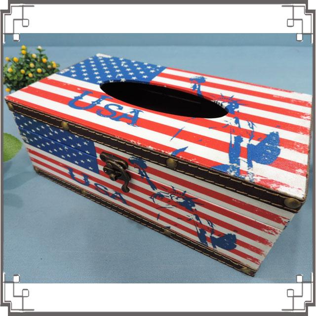 木製帆布面紙盒《PA14》美國木製面紙盒 居家布置 新居落成 送禮◤彩虹森林◥
