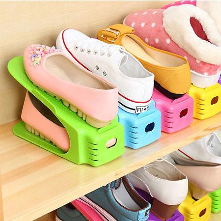 一體成形雙層立體式收納鞋架 雙層收納 鞋櫃 鞋架 鞋子 拖鞋 收納 居家 客廳【B062551】