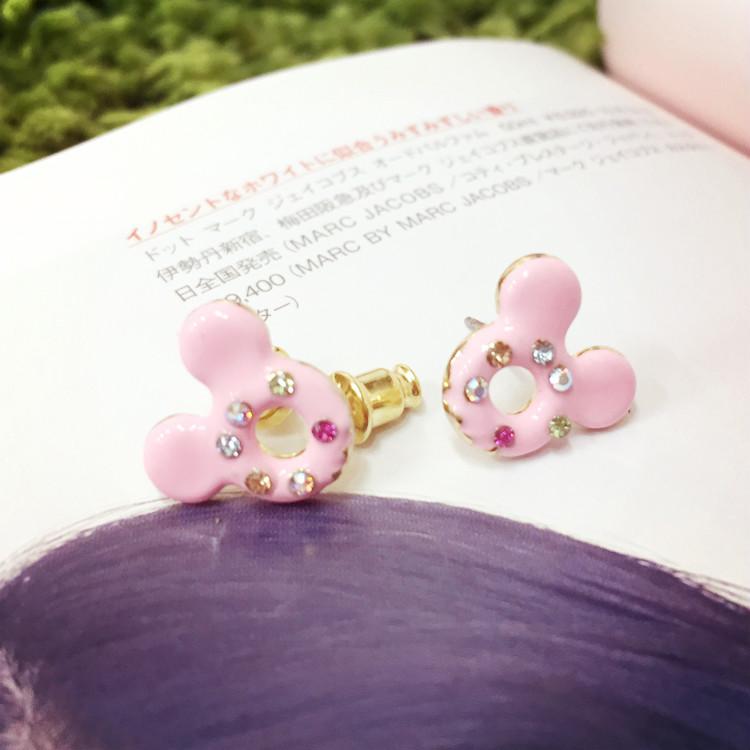 PGS7 日本迪士尼系列商品 - 迪士尼 甜甜圈 造型 耳環 米奇 水鑽耳環