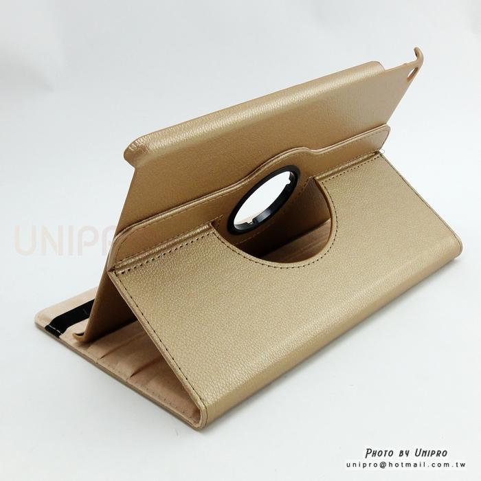 【UNIPRO】iPad Air2 360度 荔枝紋 旋轉 奢華高貴 支架 保護套 休眠喚醒 iPad6