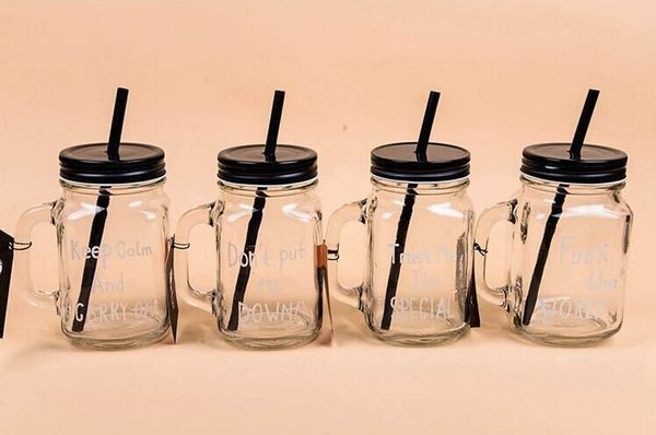 ps mall 韩日英文字母个性玻璃梅森杯 随身杯 柠檬杯 情侣水杯 冷水壶