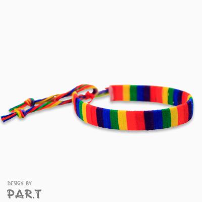 (PAR.T)彩虹商品-六彩細格衝浪手環