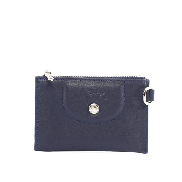 【LONGCHAMP】小羊皮KEY零錢包(海軍藍)3609737556