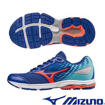 K1GC162555(深藍X橘紅X水藍)WAVE RIDER19 Jr. 一般型大童鞋 A【美津濃MIZUNO】