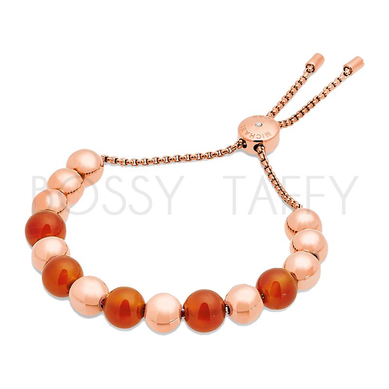 MICHAEL KORS 橘紅瑪瑙玫瑰金串珠可調式手鍊 MK Carnelian Slider Bracelet