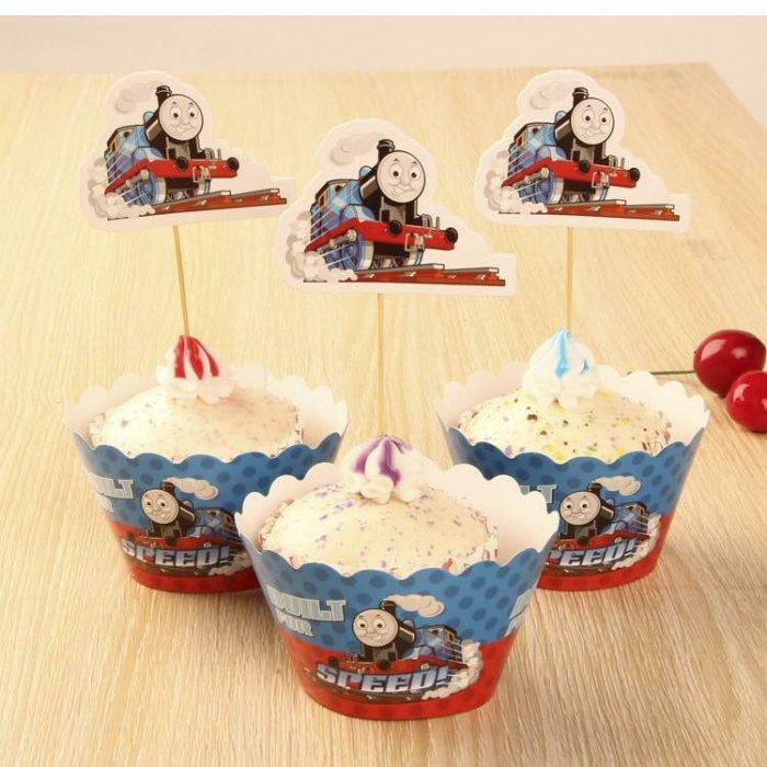 =優生活=烘焙包裝紙杯蛋糕 蛋糕裝飾 插牌圍邊+插牌裝飾 派對用品 兒童生日 彌月蛋糕 收綖蛋糕【湯瑪士小火車】