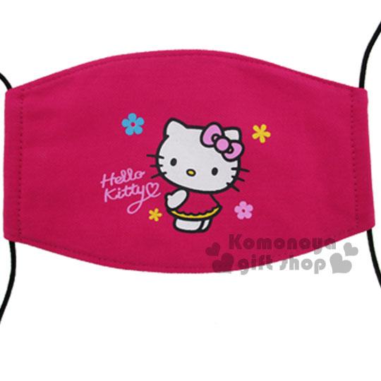 〔小禮堂〕Hello Kitty 成人平面口罩《桃.站姿.花朵》感冒對策用品