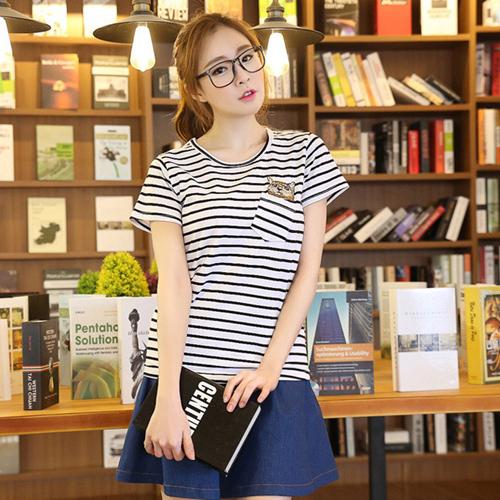YJY口袋貓咪條紋T恤[U7106]-2色M.XL