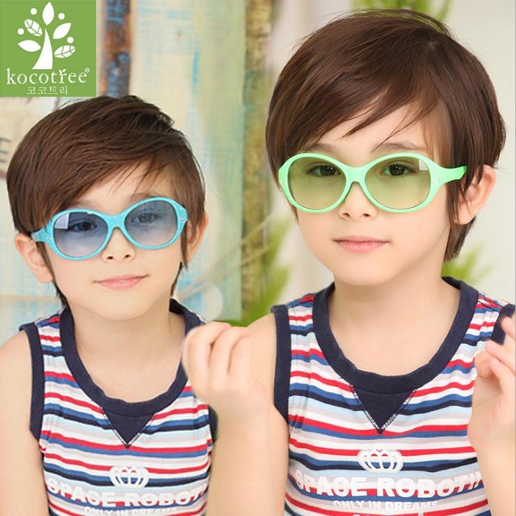 Kocotree◆時尚花朵水晶鑽氣質純色嫩色百搭兒童太陽眼鏡