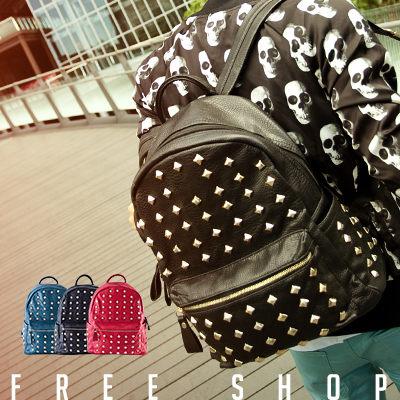 Free Shop【QI8091】韓國潮流款 鉚釘設計荔枝皮革大容量後背包‧三色