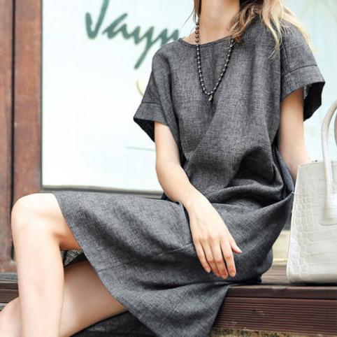 短洋裝 - 圓領簡約設計隱形口袋亞麻寬鬆連衣裙【29094】藍色巴黎-現貨+預購