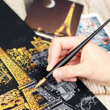 金色刮畫專用刮刮金筆(1支入) 手刮城市 金色夜景刮本 刮刮筆【N200932】