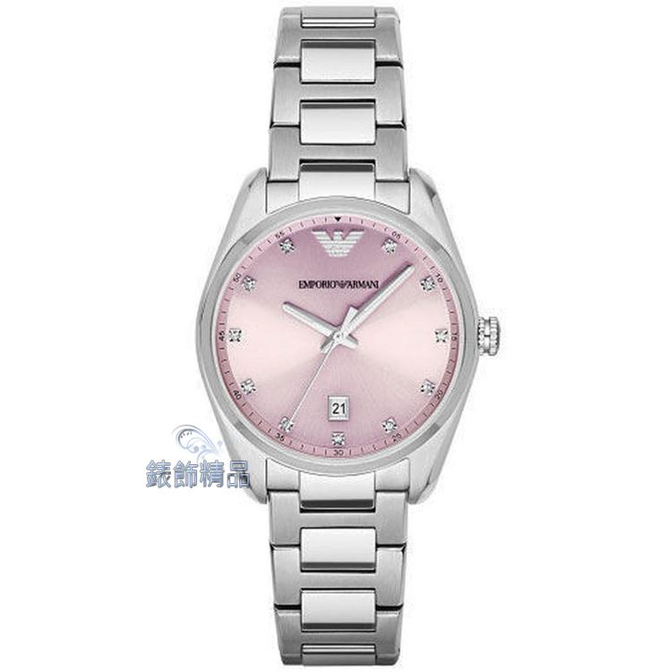 【錶飾精品】ARMANI手錶 亞曼尼 晶鑽時標 粉紫面 日期 鋼帶淑女腕錶 AR6063 情人生日禮物 原廠正品