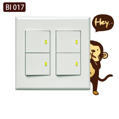 創意時尚無痕環保PVC壁貼牆貼BI017害羞猴開關貼防水不傷牆面可重覆撕貼