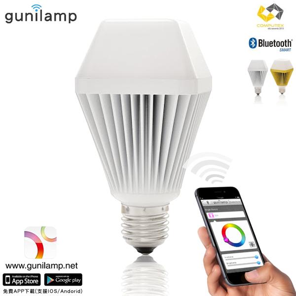 E&J 【EN5001】免運費,gunilam 手機APP控制亮度色彩 7W LED 燈泡 ,藍牙/情境燈/聖誕燈/省電