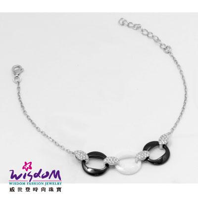 時尚圈圈形 925銀 雙色陶瓷 流線 手鍊 鑲風信子石 送禮/自用 情人禮 生日禮 威世登時尚珠寶