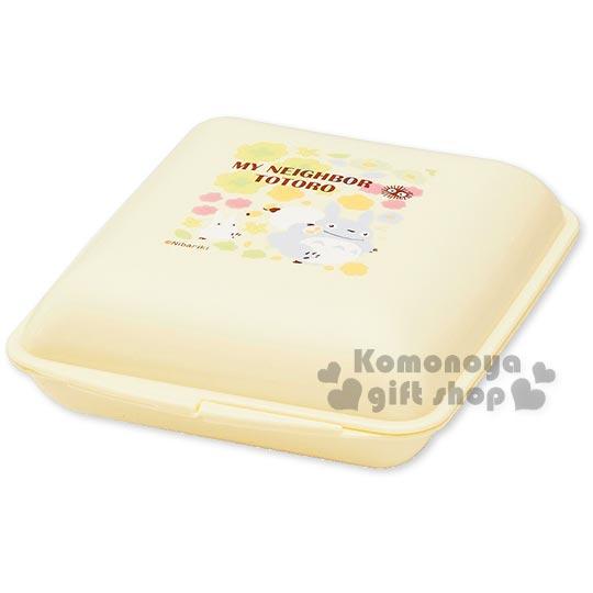 〔小禮堂〕宮崎駿Totoro龍貓 日製三明治便當盒《淺黃.朋友.花朵》