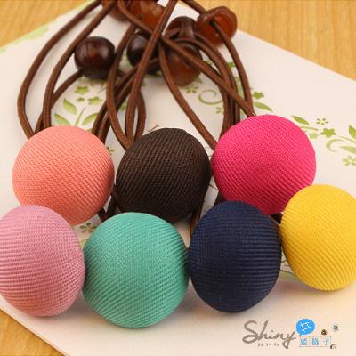 【60A82】shiny藍格子-馬卡龍色系甜美鈕扣小圓圈髮圈