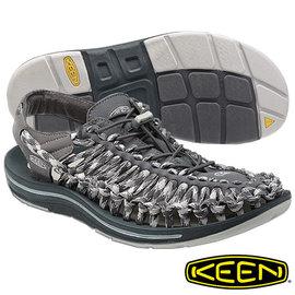 Keen Uneek 男 輕量護趾編織款拉繩涼鞋 8MM 深灰/淺灰 1014020