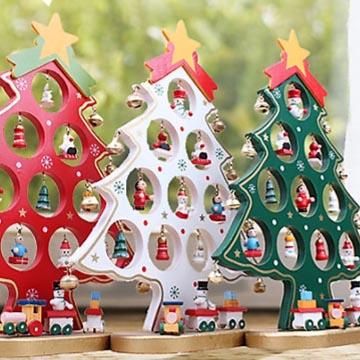 WallFree窩自在★歡樂聖誕節木質DIY擺件裝飾-聖誕樹(白)