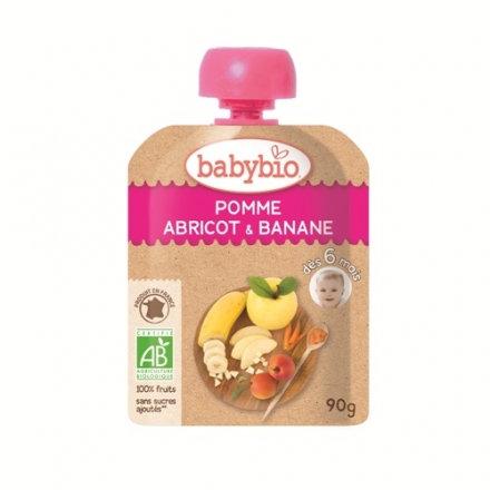 『121婦嬰用品館』法國倍優babybio 有機香蕉杏桃纖果泥90g(6個月)