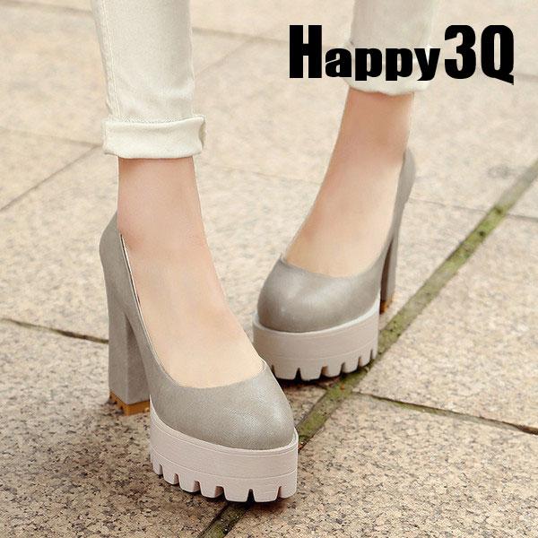 性感防水台氣勢粗跟超高跟包鞋高跟鞋-黑/灰/米/粉33-42【AAA0161】