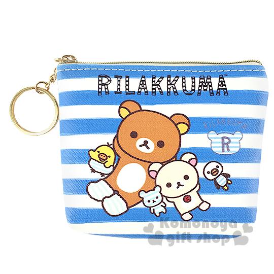〔小禮堂〕懶懶熊  拉鍊零錢包《藍白.條紋.牛奶熊.企鵝.小雞》