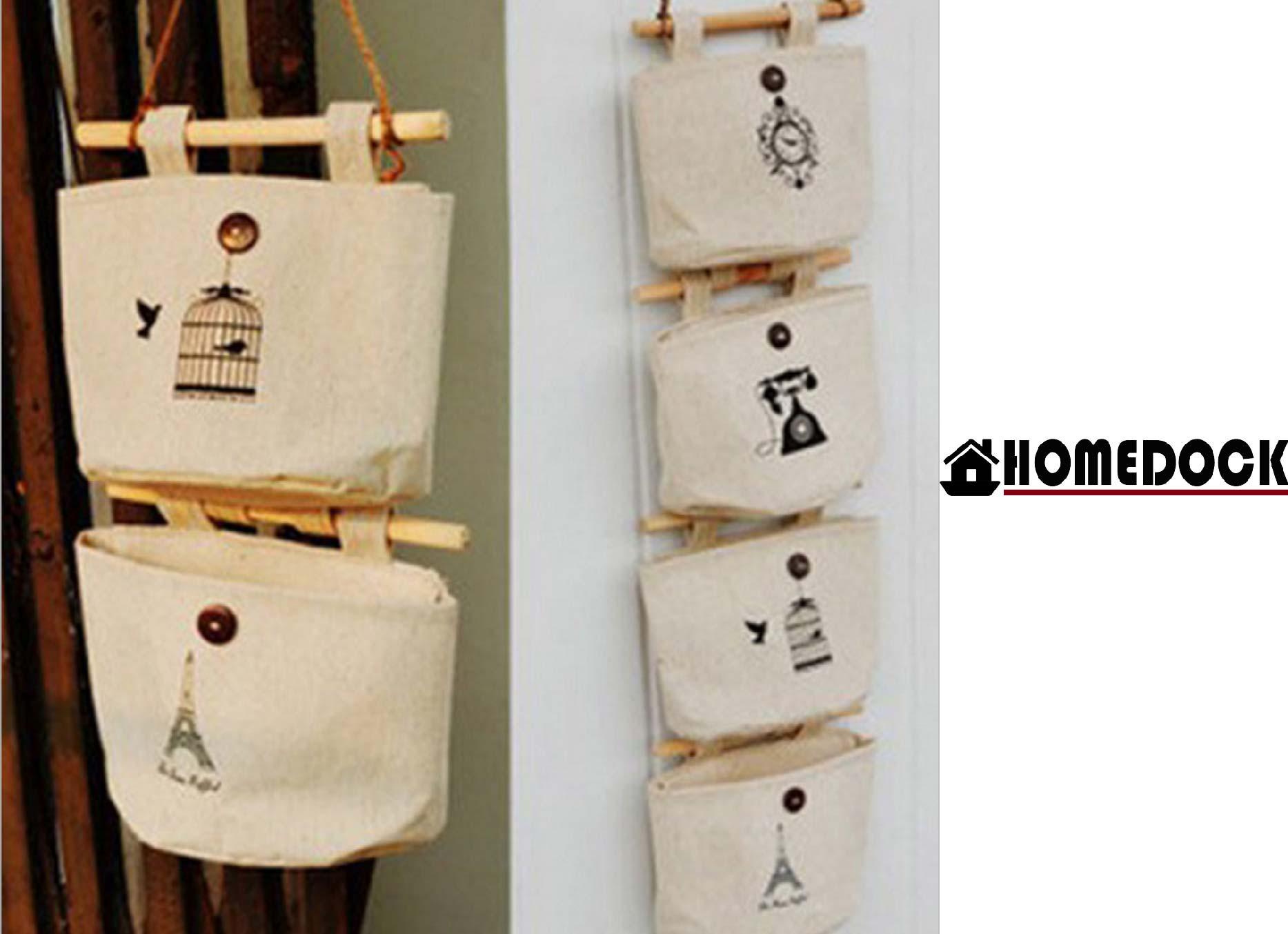 HOMEDOCK-zakka 牆壁收納掛袋 收納袋/吊帶/牆壁/掛鉤/鄉村/收納包/整理