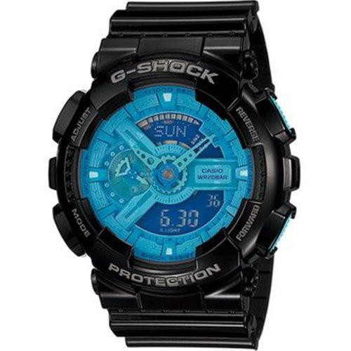 CASIO 潮流數位多層次運動錶/黑藍/GA-110B-1A2DR