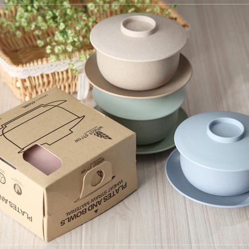 天然小麥蓋碗盤三件組 質感環保小麥碗碟三件套每一組包含:蓋子+ 碗 +盤子