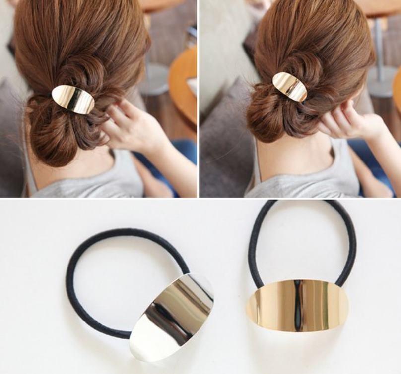2202971簡約金屬圓版髮束、髮帶、髮繩、髮圈、馬尾【共2色】