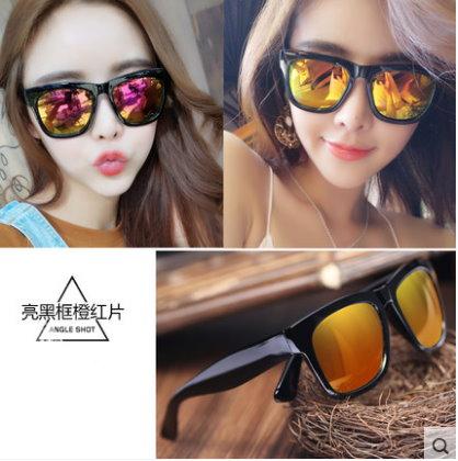 2016新款大框韓版太陽鏡 時尚墨鏡 圓臉潮人歐美太陽眼鏡-亮黑框橙紅片